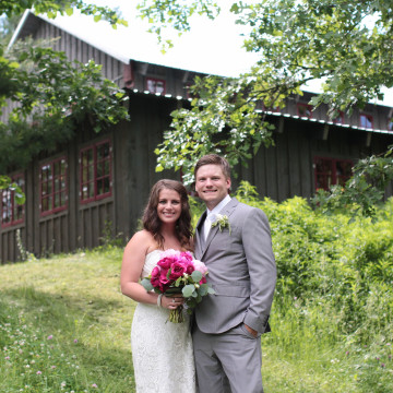 Beautiful Outdoor Wedding | Pink Flowers, BWB Ranch, Rustic Barn, Grey Dresses, Bride & Groom MN Wedding Photography